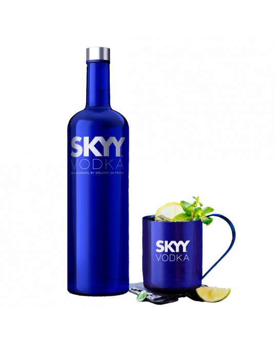 VODKA SKYY BOTELLA 750 ml + GRATIS VASO MOSCOW MULE