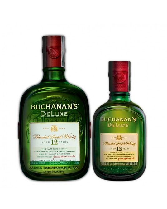 BUCHANAN'S D´LUXE 12 AÑOS BOTELLA 750 ml + MEDIA 375 ml