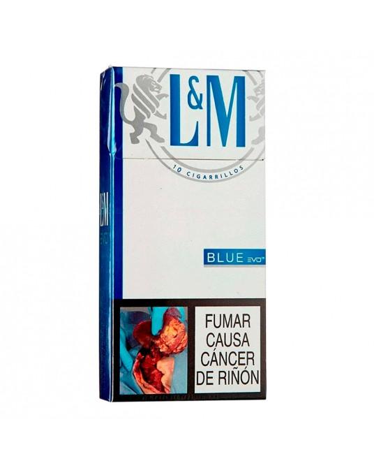 CIGARRILLO L&M BLUE MEDIO PAQUETE x 10 UND